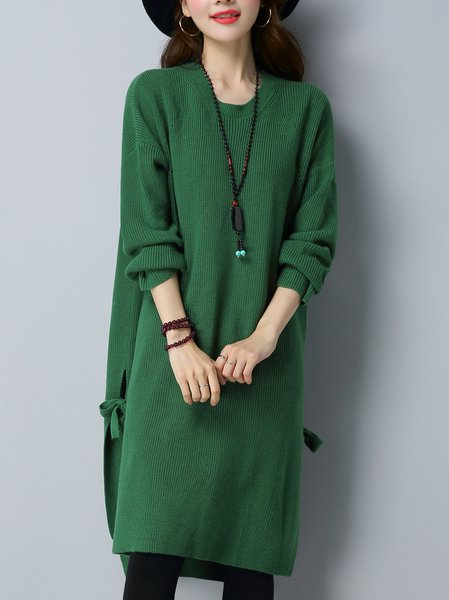 Long Sleeve Casual Knitted Slit Solid Sweater Dress