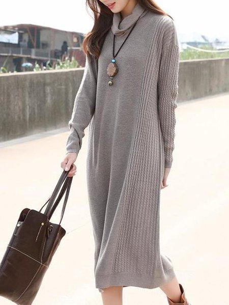 Gray Cowl Neck H-line Long Sleeve Midi Dress