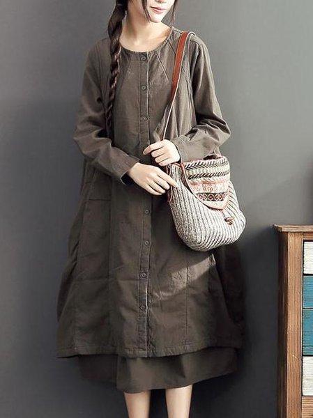 Brown Casual Cotton Buttoned Linen Dress