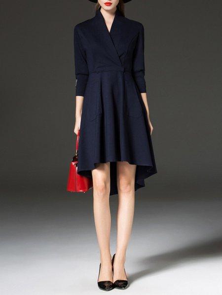 Blue Asymmetrical 3/4 Sleeve Midi Dress