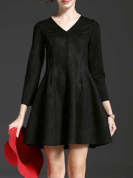 Black V Neck 3/4 Sleeve Mini Dress