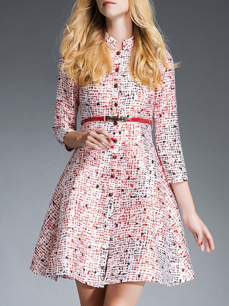 Multicolor A-line 3/4 Sleeve Printed Stand Collar Mini Dress