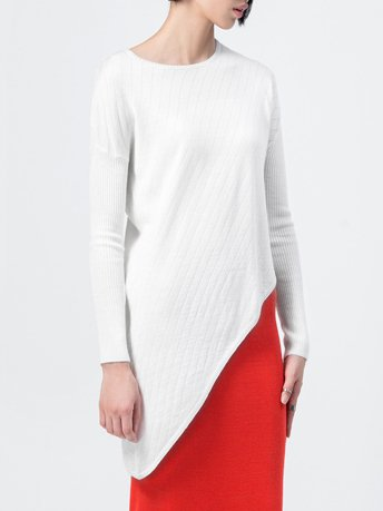 White Knitted Asymmetric Long Sleeve Sweater
