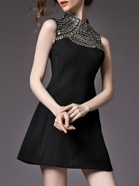 Black Sleeveless A-line Polyester High Temperature Setting Mini Dress