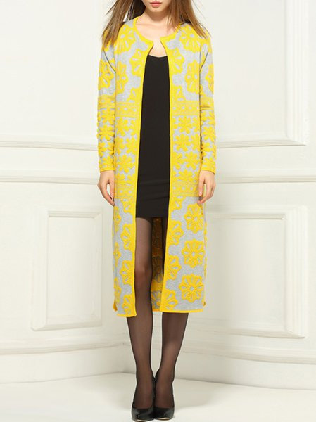 Yellow Casual Paneled Floral Shift Coat