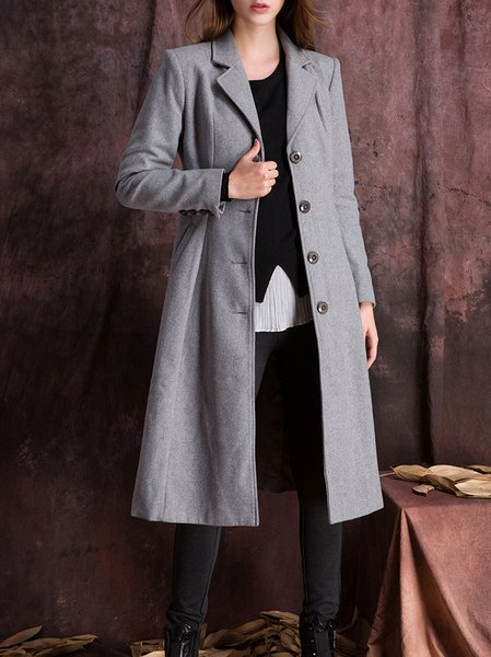 Gray Long Sleeve Wool Paneled Trench Coat
