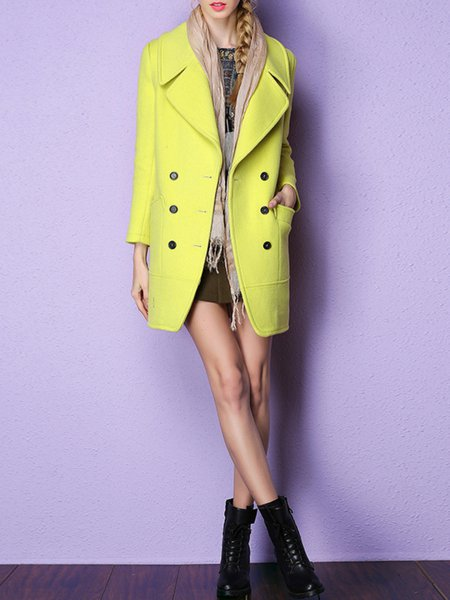 Yellow Wool Long Sleeve Coat