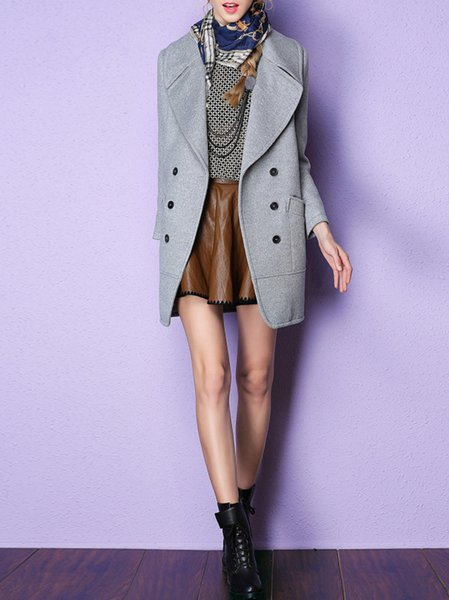 Gray Long Sleeve Wool Coat