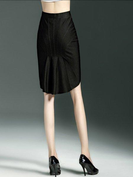 black cocoon plain midi skirt stylewe