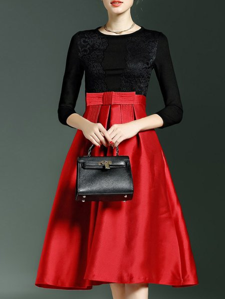 Paneled Bow Midi Dress