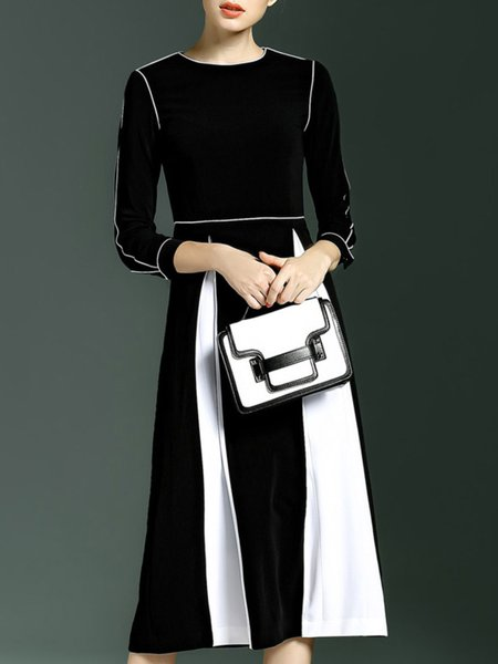 Cotton-blend Long Sleeve Paneled Crew Neck Elegant Midi Dress