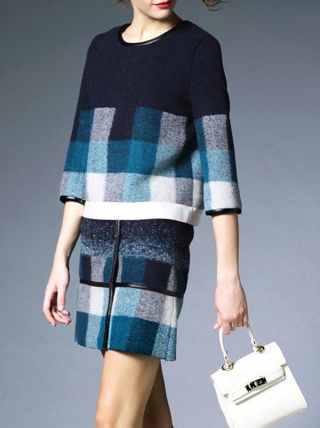 Paneled Plaid Mini Skirt with Top