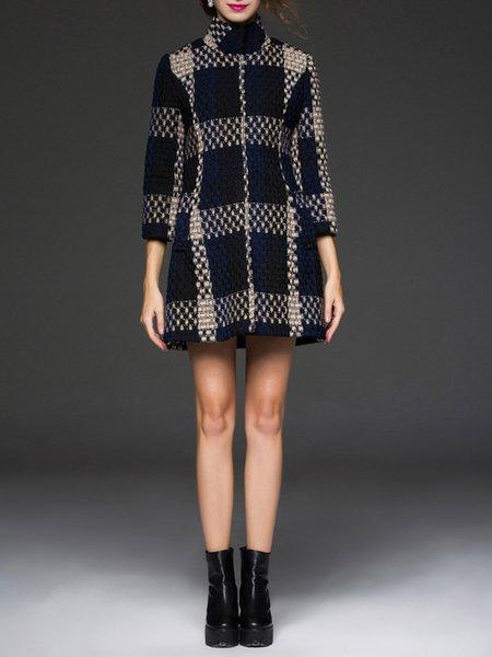 Black Long Sleeve Turtleneck Knitted Shift Coat