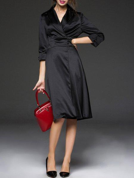Black 3/4 Sleeve Polyester Wrap Dress