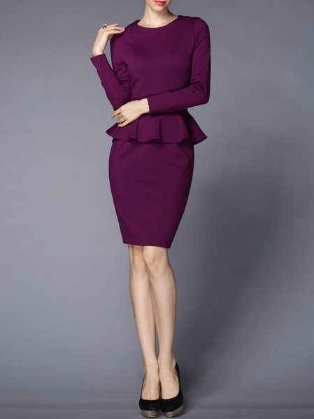 Work Crew Neck Long Sleeve Sheath Ruffled Midi Dress