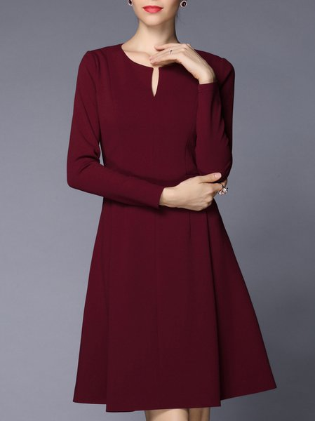 Wine Red Long Sleeve A-line Midi Dress