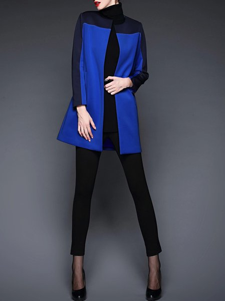 Polyester Casual Color-block Long Sleeve Coat