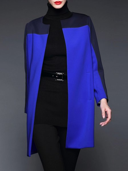 Color-block Polyester Coat
