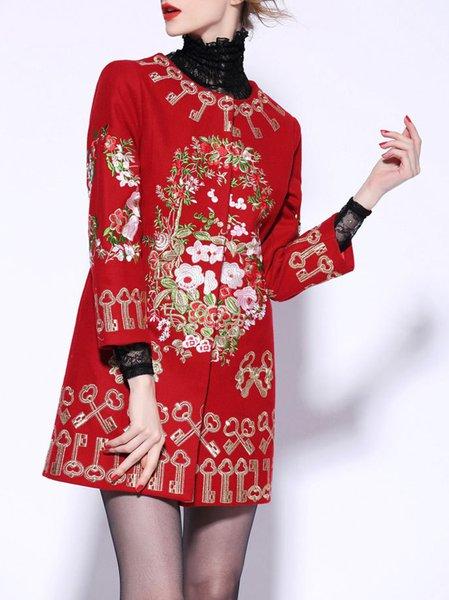 Embroidered Long Sleeve Wool Blend Vintage Coat
