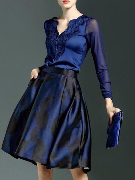 Dark Blue Long Sleeve V Neck Blouse