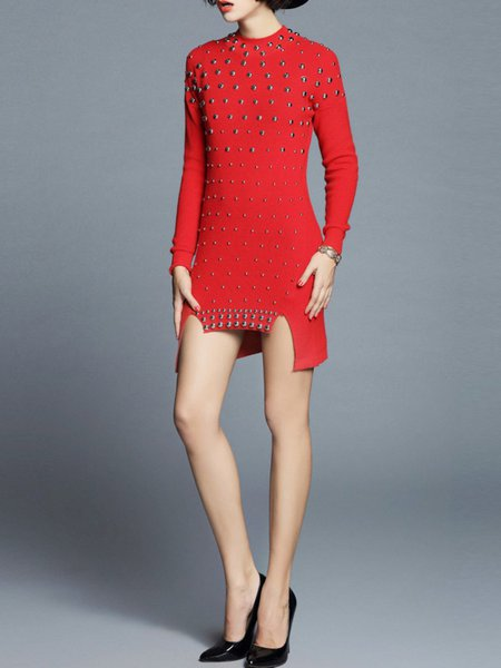 Red Knitted Long Sleeve Angora-blend Sweater Dress