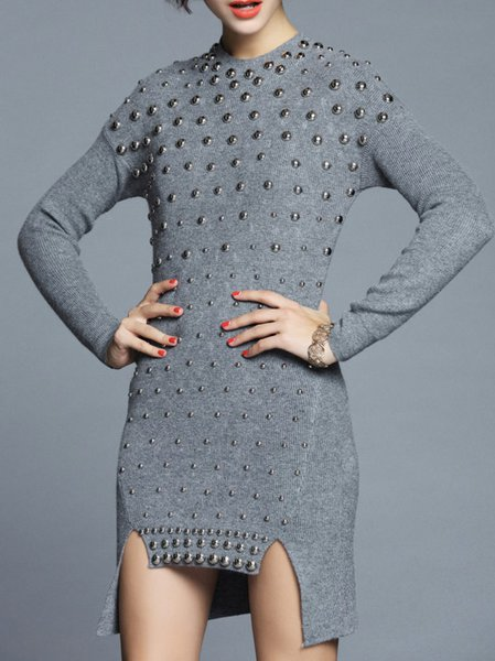 Gray Angora-blend Long Sleeve Knitted Sweater Dress