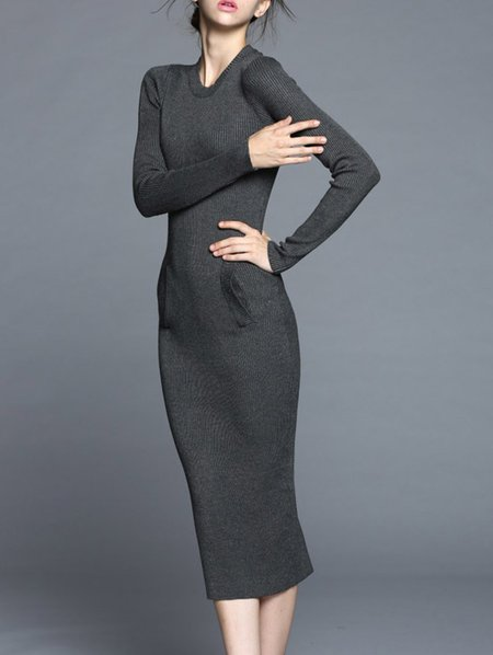 Gray Long Sleeve Sheath Midi Dress