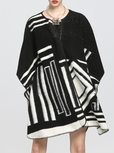 Black V Neck Checkered/Plaid Printed/Dyed Poncho
