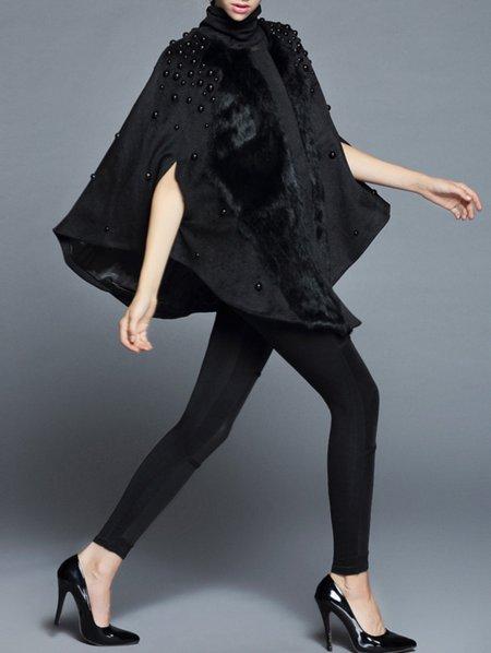 Black Angora-blend Poncho