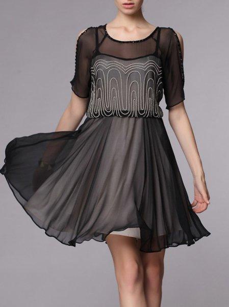 Black Short Sleeve Two Piece Beaded Polyester Mini Dress