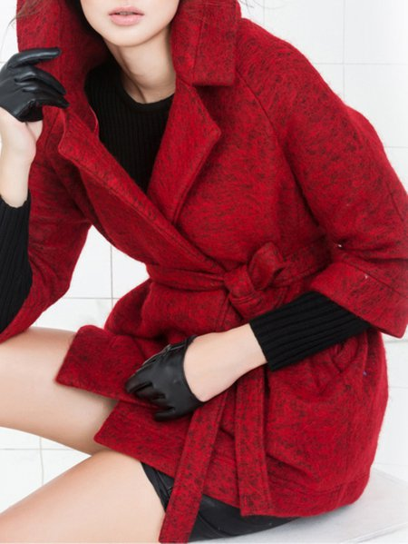Red 3/4 Sleeve H-line Coat