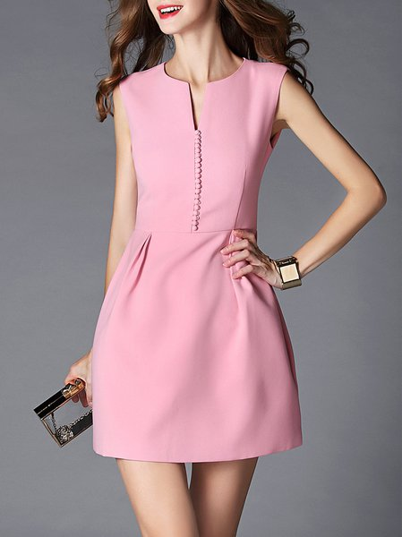 V Neck Sleeveless Girly A-line Mini Dress