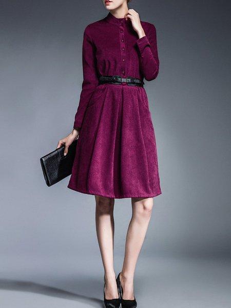 Purple Stand Collar Folds A-line Long Sleeve Midi Dress