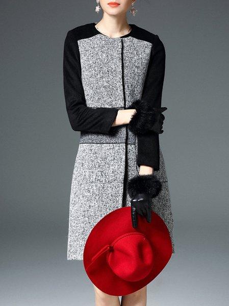Long Sleeve Sweet H-line Color-block Wool Blend Coat