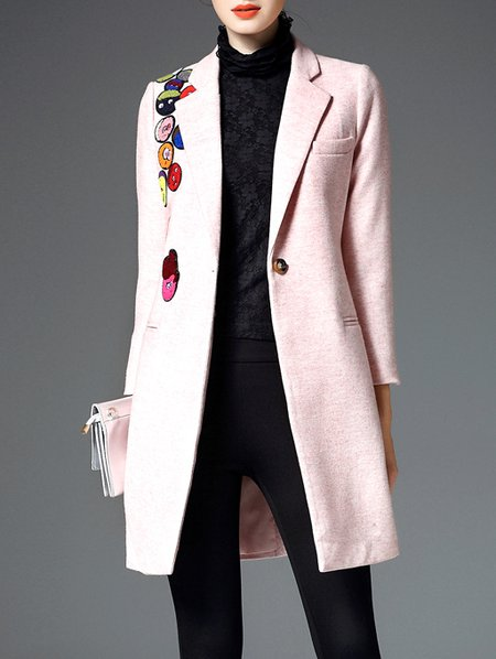 Pink Appliqued Long Sleeve Wool Blend Coat