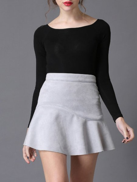 Gray Ruffled Faux Leather Mini Skirt