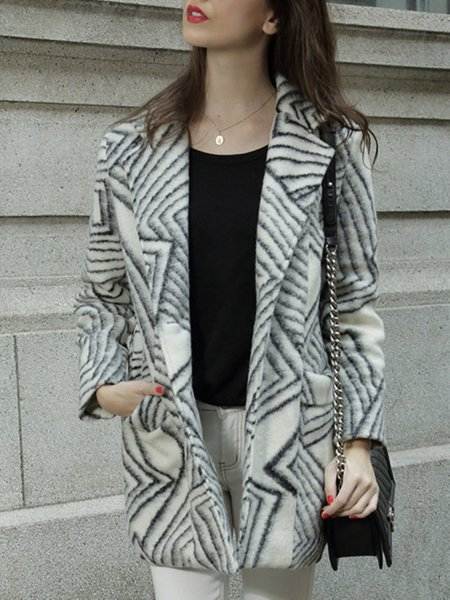 White Printed/Dyed Long Sleeve Coat