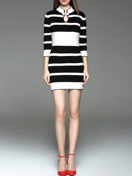Multicolor Color-block Casual Sheath Mini Dress