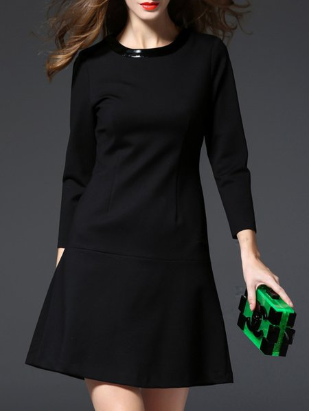 Black 3/4 Sleeve Cotton Paneled A-line Mini Dress