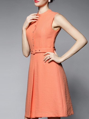 A-line Sleeveless Simple Midi Dress
