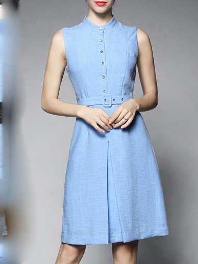 Blue A-line Paneled Sleeveless Midi Dress