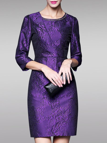 Purple Sheath 3/4 Sleeve Embroidery Mini Dress