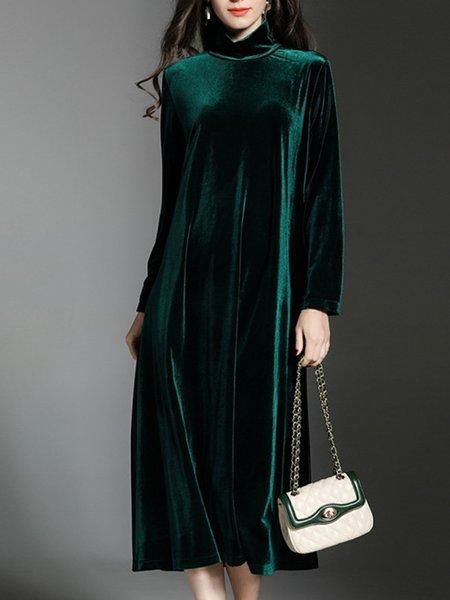Turtleneck  Midi Dress Shift Daily Casual Solid Dress
