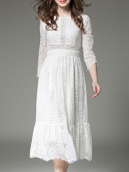 White Crew Neck Lace Elegant Guipure Lace Midi Dress