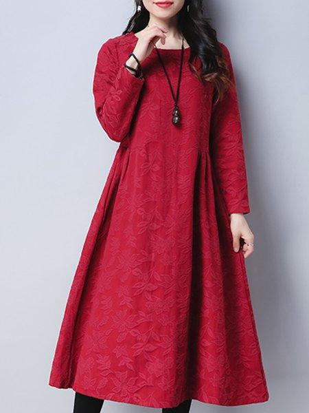 Floral Long Sleeve Linen Dress