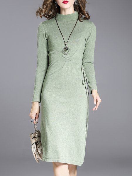 Casual Knitted Solid Sheath Cashmere Sweater Cashmere Dress