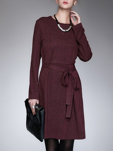 Casual Crew Neck Solid Long Sleeve Midi Dress