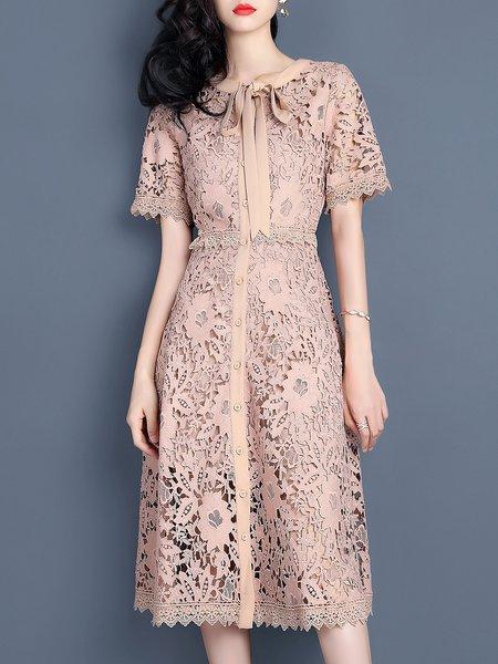 Naked Pink Guipure Lace Elegant Crew Neck Midi Dress