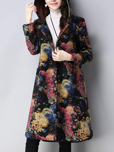 Black Long Sleeve Floral Coat