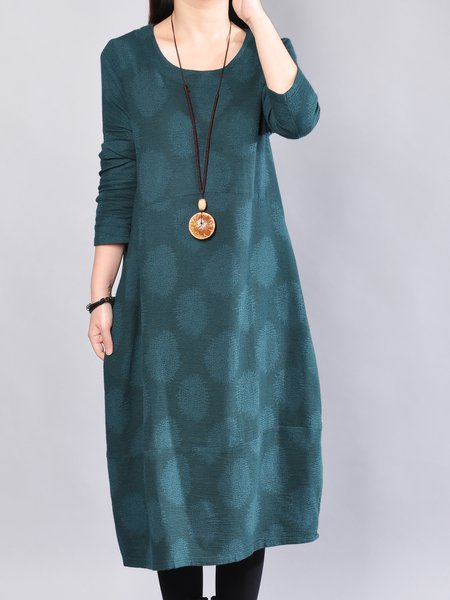 Polka Dots Casual Long Sleeve Cotton Dress